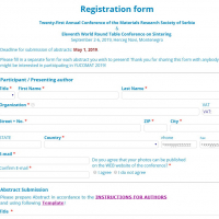 YUCOMAT 2019 & WRTCS 2019 Registration form